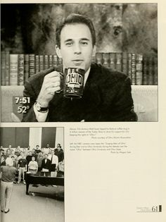 "Athena yearbook, 1999. ""OU alumnus Matt Lauer tipped his Bobcat coffee mug to 6 million viewers of the 'Today Show' to show his support for OU keeping the rights to ""Ohio""."" :: Ohio University Archives"
