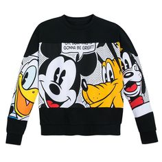 This fashionable pullover sweater gives our top super stars an extreme close-up. Mickey, Donald, Goofy and Pluto are sure to inspire smiles, while the drop shoulders and a pieced construction add on-trend style to any outfit. Mickey Mickey, Mickey Cakes, Friends Sweatshirt, Dog Pajamas, Mickey Mouse And Friends, Minnie Mouse, Junior, Printed Pants, Disney Outfits