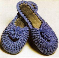 pantufas chinelos azul sapatos croche pom-pom aprender croche blog edinir-croche croche com receita dvd