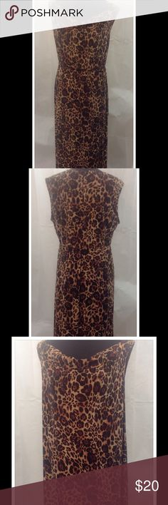 Jasper Animal Print Dress This Animal print, maxi dress is one of my favorites. Worn with or without the belt, as your own style dictates. 2 side splits come up to about the knee. Made of polyester and elastase. Machine wash cold. Kasper Dresses Maxi