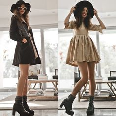 Pearl Embellished Baby Doll Dress, Black Capsule Boots, Black Felt Garden Hat, Felt And Pu Leather Trench, Bronze Framed Shades
