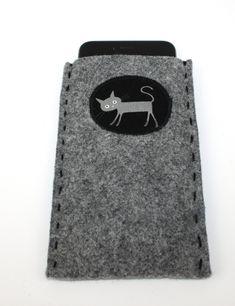Handyhülle aus Filz mit Katze Etsy, Hand Sewn, Felting, Threading