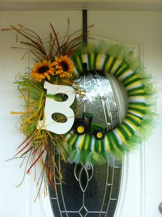 John Deere Wreath for wyatts room. but make more boyish, no flowers,and a W for Wyatt