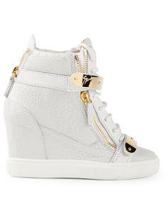 Giuseppe Zanotti Design Concealed Wedge Heel Hi-Top Sneakers White High Top Sneakers, Hidden Wedge Sneakers, White Flat Shoes, Wedge Heel Sneakers, White Leather Shoes, Sneaker Heels, Leather Sneakers, Shoes Sneakers, Sneakers Women