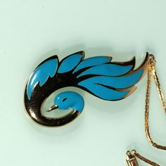 80s Gold Pendant Necklace Enamel Long Swan French by ThisisParis, $135.00