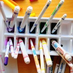 To refresh dried up markers - soak in liquid watercolor. I wish I would have known this when I was a kid. So many wasted markers cause I left the lid off. Art For Kids, Crafts For Kids, Arts And Crafts, Daycare Crafts, Slime, Liquid Watercolor, Art Classroom, Classroom Ideas, Copics