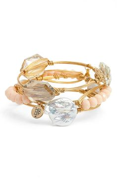 Accessorizing with this set of three champagne stone bracelets from the Nordstrom Anniversary Sale! Wear the whole stack at once to make a boho-chic statement, or style the bangles on their own to achieve a more subtle effect.