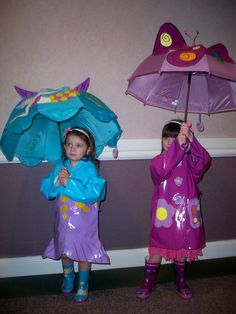 Fashion Show Rainy Day Outfits featuring our Mermaid and Butterfly Raincoats, Rainboots & Matching Umbrellas.