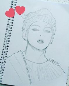 V Bts Drawings # bts Bts Chibi, Taehyung Fanart, Bts Taehyung, Bts Jin, Guy Drawing, Drawing Sketches, Kpop Anime, Kpop Drawings, Pencil Drawings