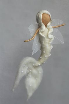 White Mermaid Fairy Mobile Guardian by CloudBerryCrafts on Etsy
