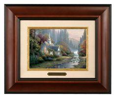 Forest Chapel - Brushwork (Burl Frame) by Thomas Kinkade