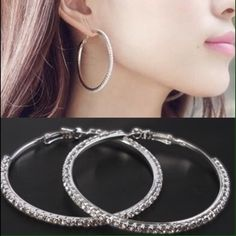 Silver Rhinestone hoops Bling Bing Silver Plated 8CM CZ Earrings 1Row Rhinestone Big Hoop Earrings Luna Jewelry Earrings
