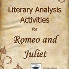 Romeo and Juliet Literary Analysis Activities