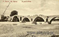Το γεφύρι της  Άρτας, 1908 Bridges, Taj Mahal, Medieval, Greece, Snow, Building, Water, Painting, Travel