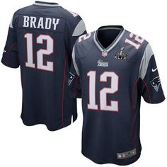 50d6f45b6 Mens New England Patriots  12 Tom Brady Nike Navy Blue Super Bowl XLIX Game  Jersey