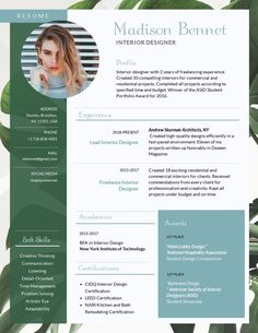 Green Interior design resume template ---CLICK IMAGE FOR MORE--- resume how to write a resume resume tips resume examples for student Cv Template Word, Job Resume Template, Creative Resume Templates, Interior Design Resume Template, Interior Design Cv, Design Design, Cv Design Template, Modern Resume Template, Design Concepts