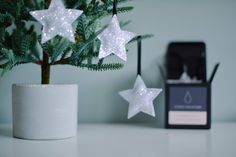 Excited to share the latest addition to my #etsy shop: 6 Glitter Star Decorations in Snow #housewares #homedecor #christmas