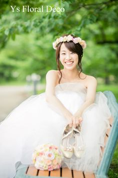 シュガートーンの淡い色合い ブーケと花冠 アーティフィシャルフラワー ys floral deco