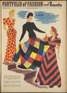 40s long dress party glam maxi lounge chevron stripes dots plaid checks red black blue orange hollywood glam Issue: 16 Nov 1940 - The Australian Women's Weekly