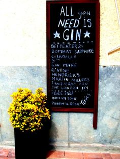 Sign  All you need is gin  fine art print photography by CoinBleu, $20.00