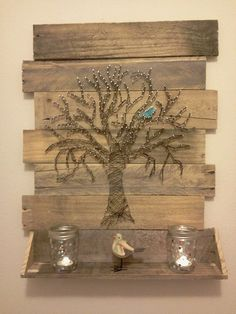 Tree String Art with Blue Bird
