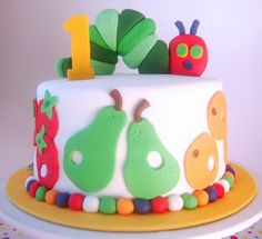 butter hearts sugar: Very Hungry Caterpillar Cake