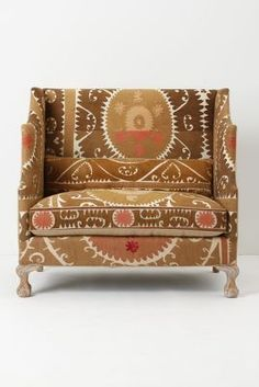 Greenfynch Settee in vintage Suzani fabric Upholstered Furniture, Home Furniture, Furniture Styles, Bedroom Furniture, Furniture Design, Take A Seat, Love Seat, Suzani Fabric, Relax