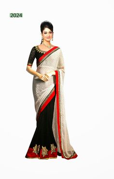 FABRIC :- HALF VIVING MOSS GEORGETTE SAREE & HALF CREPE CHIFFON SAREE IN DOUBLE COLOR WITH PATCH, ZARI, STONES, BOOTI, SATAN LACE BORDER WORK & DESIGNER WORK BLOUSE.