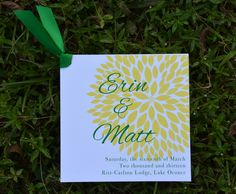 Andi Wedding Programs from Wiregrass Weddings with Yellow and Green Ink and Emerald Satin Ribbon. Invitation Design, Invitations, Lake Oconee, Wedding Programs, Reception Ideas, Green Wedding, Programming, Wedding Engagement, Emerald