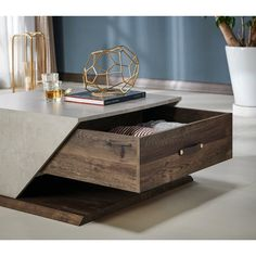 Furniture of America Menster Wood Coffee Table in Reclaimed Oak Cool Coffee Tables, Coffee Table With Storage, Coffee Table Design, Modern Coffee Tables, Coffee Table Tray, Outdoor Coffee Tables, Modern Table, Centre Table Living Room, Table Decor Living Room