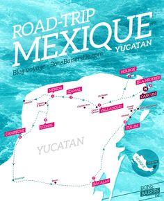 Suivez nous dans notre road trip de 3 semaines au Mexique, à l'aide de cette carte. Départ de Cancun, puis direction Isla Holbox, puis Valladolid, Izamal, Merida, Uxmal, Campeche, Bacalar, Tulum et enfin, Isla Murejes. Un voyage riche en découverte et en expérience ! Plus d'info sur notre blog voyage : bonsbaisersde.com