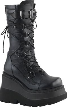 Demonia Shoes - SHAKER-70 Black Vegan Leather