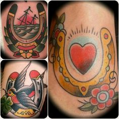 Inspiration for my next tattoo.   I will have a traditional, old school Horseshoe with the ship sinking, the flowers and this style of coloring.  I may even add a sparrow.
