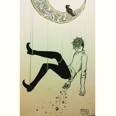 #inktober day 2! Finished early just a late upload ;P (( #ztdraws #inktoberday2  #inktober2016 #ink #art #traditionalart #gold #star #moon #stars #witchboy #crow #drawing #instaart #instadraw #instadrawing #instaartist #instadaily #artstagram #starboy #patreoncreator ))