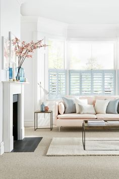 Pale blues matched with pinks and cream creates a perfect paired down look. Our House Beautiful Shutters range are a perfect addition to the theme. The collection takes its inspiration from the shifting skyscape, with ten exclusive colours in soft pastel shades.