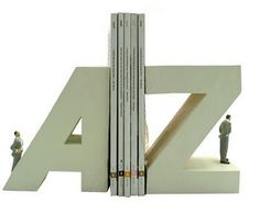 Alphabet Bookends: These bookends feature the first and last letters of the alphabets and keep things organized.   Horn Bookends: These book...