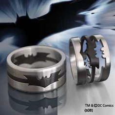 Glow in the dark batman wedding band Batman Wedding Rings