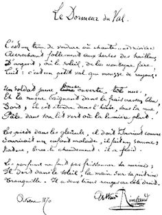 """Poem ©: """"Le Dormeur du Val"""" (French manuscript) - a poem by Arthur Rimbaud (France). Jean Arthur, Buddha Thoughts, Poesia Visual, French Script, Writers And Poets, French Quotes, Poem Quotes, Romanticism, Love Book"""