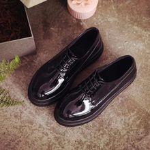2016 nuevos de cuero de la Pu zapatos de plataforma pisos mujeres atan para  arriba pisos d2971804cd86