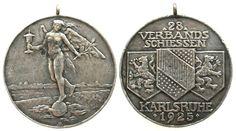 Schützen Silber Karlsruhe, Baden, auf das 28. Verbandsschiessen, v. Ehehalt, ca. 40,4 MM, ca. 24.41 Gramm tragbare Medaille 1925 fast ss