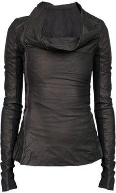 Rick Owens Black Leather Side Zip Jacket