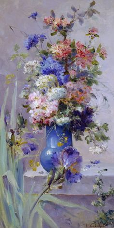 Art painting wonderful style by Eugene Henri Cauchois (1850 - 1911) Summer Flowers with Japan