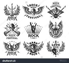 Rock music festival logo, illustration and print collections on a white background Badass Drawings, Pin Up Drawings, Tatouage Rock And Roll, Rock N Roll Tattoo, Music Festival Logos, Guitar Logo, Rock Festivals, Poster Design, Music Tattoos