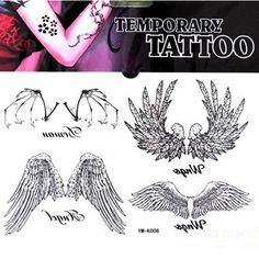 Angel Bat Wing Totem Design Waterproof Temporary Tattoo Sticker - US$2.74 sold out