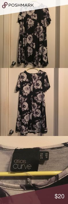 "Black and white floral shift dress Too big for me. Very cute with leggings and boots! 37.5"" long ASOS Curve Dresses"