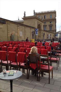 Cafe with red blankets facing Odeonsplatz - Luigi Tambosi - Munich/ München, Germany/Deutschland