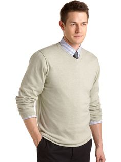 Sweaters - Pronto Uomo Celadon Cotton Cashmere V-Neck Sweater - Men's Wearhouse  I would change the sweater color but overall <3 the layered look.