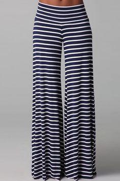 Stylish Elastic Waist Striped Loose-Fitting Wide Leg Pants For Women Bell Bottom Pants, Bell Bottoms, Style Palazzo, Look Fashion, Womens Fashion, Fashion Black, Cheap Fashion, Pantalon Large, Looks Chic