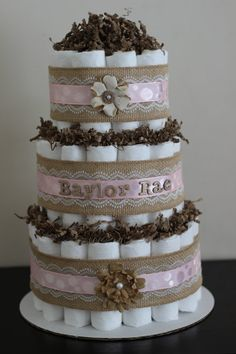 3 Tier Tier Shabby Chic Diaper Cake Burlap by BabeeCakesBoutique, $65.00