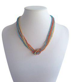 Love Knot Mixed Colour | Indigo Heart - Fair Trade Fashion  A$19.50 Fair Trade Fashion, Color Mixing, Knots, Indigo, Artisan, Beaded Necklace, Jewelry Making, Colour, Beads